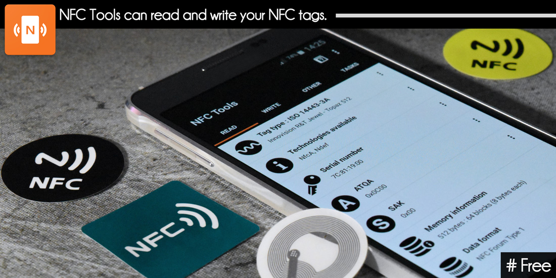 NFC Tools can read and write NFC tags.